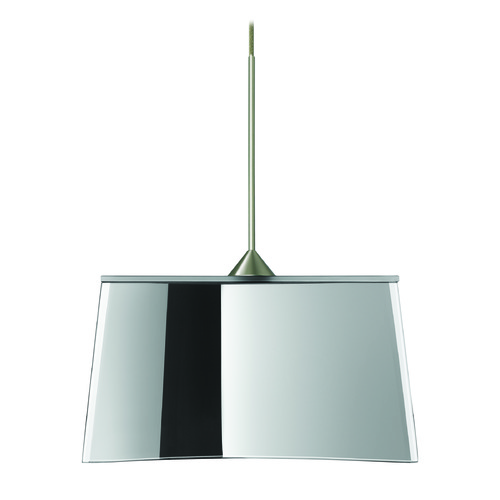 Besa Lighting Besa Lighting Groove Satin Nickel LED Mini-Pendant Light with Empire Shade 1XT-6773MR-LED-SN