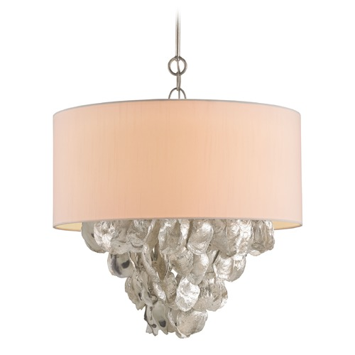 Currey and Company Lighting Currey and Company Lighting Capri Silver Leaf / Natural Pendant Light with Drum Shade 9541