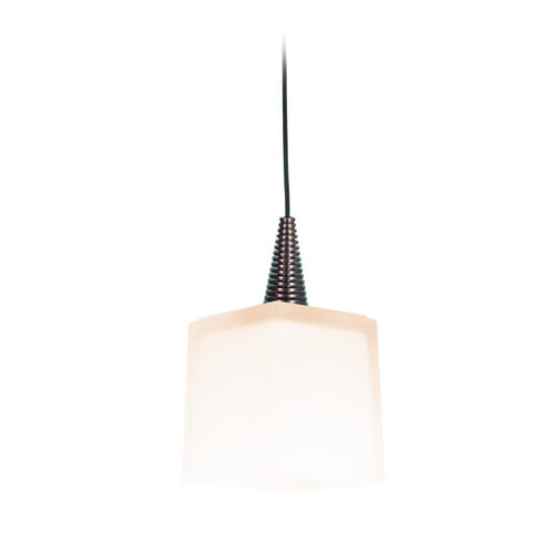 Access Lighting Access Lighting Zeta Bronze Mini-Pendant Light with Square Shade 94918-BRZ/OPL