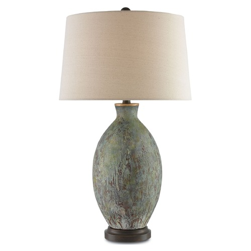 Currey and Company Lighting Currey and Company Remi Green, Dark Red Drip Glaze/bronze Gold Table Lamp with Empire Shade 6000-0050