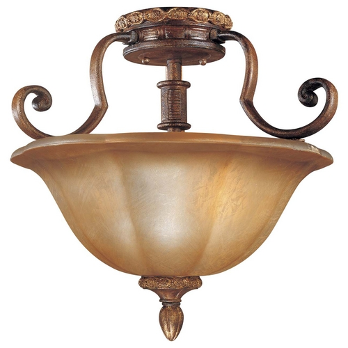 Minka Lavery Semi-Flushmount Light with Brown Tones Glass in Illuminati Bronze Finish 6357-177