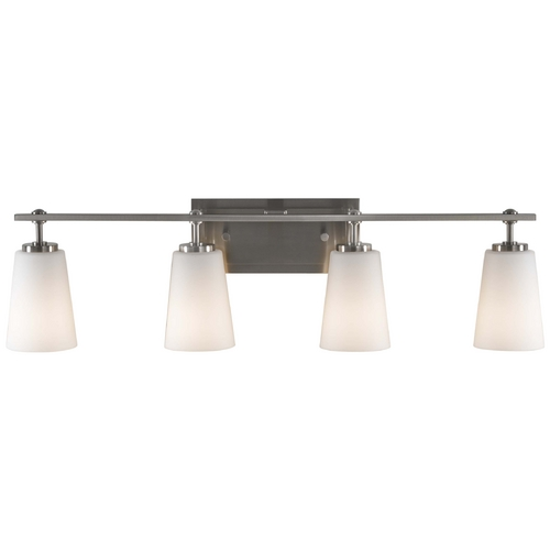 Feiss Lighting Modern Bathroom Light with White Glass in Brushed Steel Finish VS14904-BS