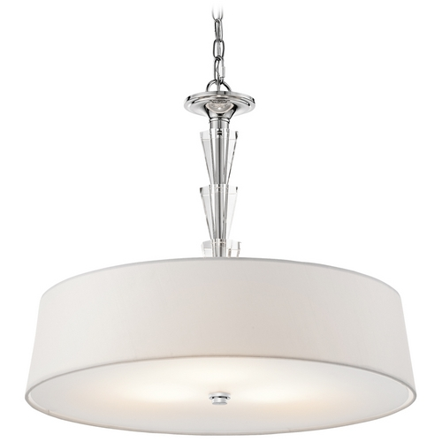 Kichler Lighting Kichler Crystal Drum Pendant Light with White Shade in Chrome Finish 42034CH