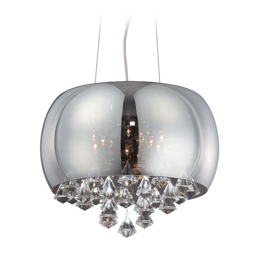 Lite Source Lighting Modern Low Voltage Drum Pendant Light with Mercury Glass in Smoke Mirrored Glass Finish EL-10064