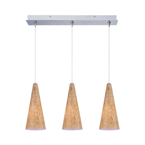ET2 Lighting Modern Low Voltage Multi-Light Pendant Light with Orange Glass and 3-Lights E94830-103SN