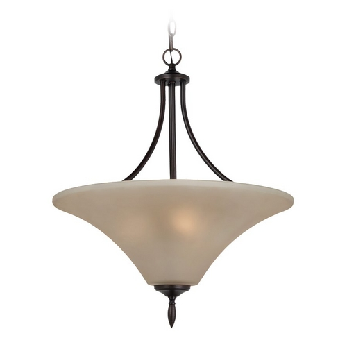 Sea Gull Lighting Pendant Light with Beige / Cream Glass in Burnt Sienna Finish 65181BLE-710