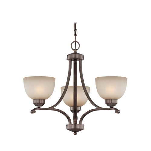 Minka Lavery 3-lt Chandelier in Harvard Court Bronze Finish - French Scavo Glass 1423-281