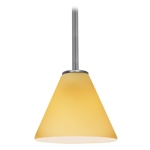Access Lighting Modern Mini-Pendant Light with Amber Glass 28004-1R-BS/AMB