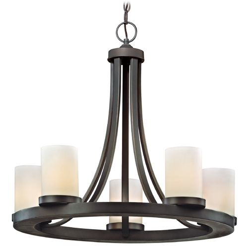 Design Classics Lighting Five Light Round Candle Chandelier Light in Bronze Finish 160-78