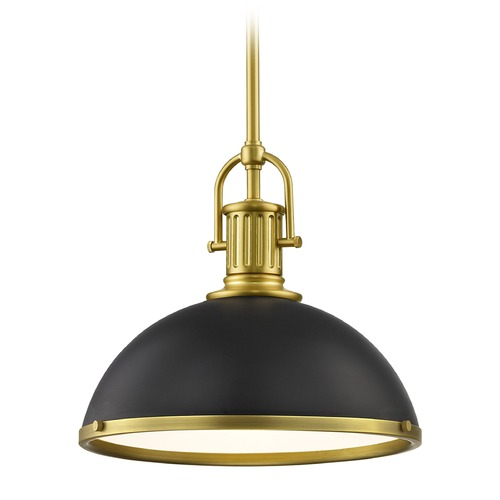 Design Classics Lighting Black Farmhouse Pendant Light with Brass 13.38-Inch Wide 1764-12 SH1776-07 R1776-12