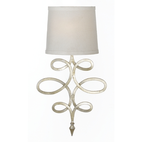 AF Lighting Wall Lamp with White Shade in Silver, Foil Finish 8432-1W