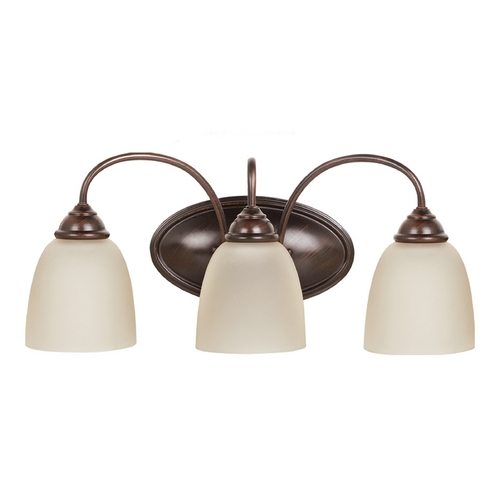 Sea Gull Lighting Bathroom Light with Beige / Cream Glass in Burnt Sienna Finish 44318-710