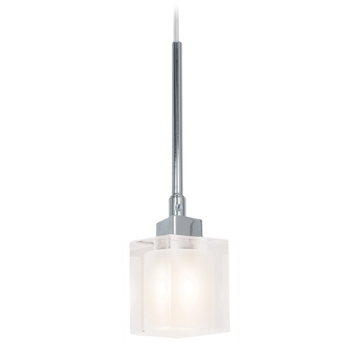 Access Lighting Access Lighting Astor Chrome Mini-Pendant Light with Square Shade 23905-CH/FCL
