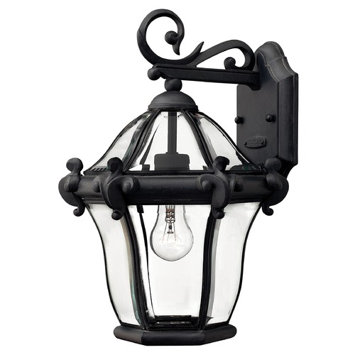 Hinkley Outdoor Wall Light with Clear Glass in Museum Black Finish 2440MB