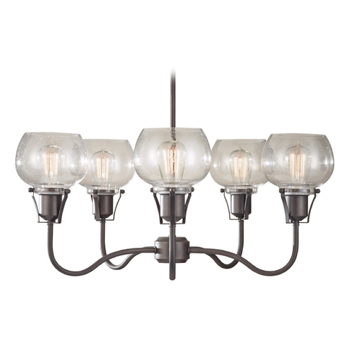 Feiss Lighting Chandelier with Clear Glass in Rustic Iron Finish F2824/5RI