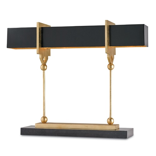 Currey and Company Lighting Currey and Company Lighting Apropos Satin Black / Contemporary Gold Leaf Table Lamp with Rectangle S 6994