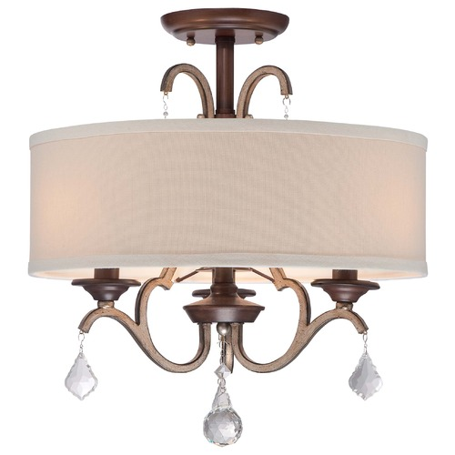 Minka Lavery Minka Gwendolyn Place Dark Rubbed Sienna with Aged Silver Semi-Flushmount Light 4357-593