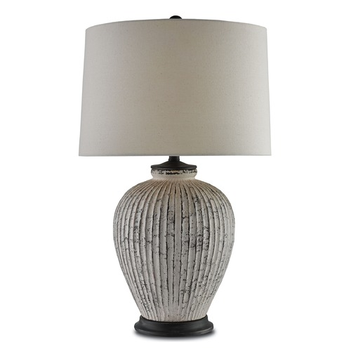 Currey and Company Lighting Currey and Company Richmond Distressed Bone White/london Black Table Lamp with Empire Shade 6000-0051