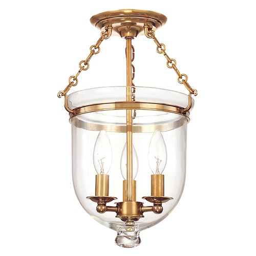 Hudson Valley Lighting Semi-Flushmount Light with Clear Glass in Aged Brass Finish 251-AGB-C1