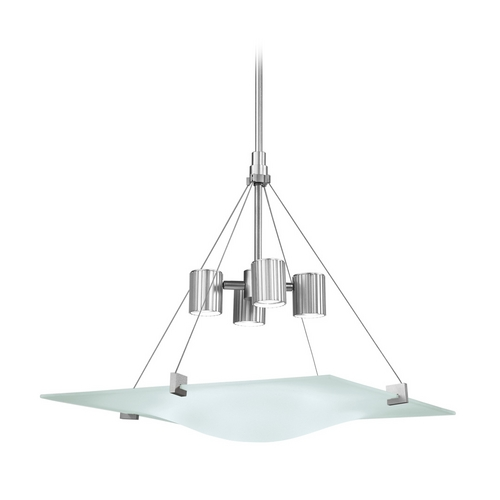 Sonneman Lighting Modern Mini-Pendant Light with White Glass in Satin Silver Finish 3402.04