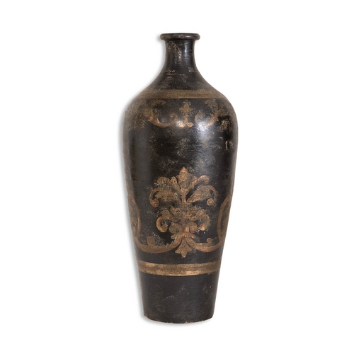 Uttermost Lighting Vase in Aged Black / Gold Finish 19317