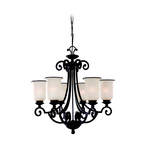 Sea Gull Lighting Chandelier with Champagne Seeded Glass in Misted Bronze Finish 31146-814