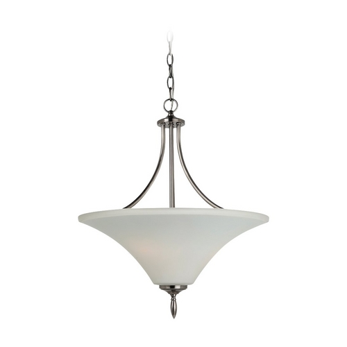 Sea Gull Lighting Pendant Light with White Glass in Antique Brushed Nickel Finish 65181BLE-965