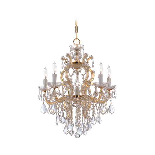 Crystorama Lighting Crystal Chandelier in Polished Gold Finish 4435-GD-CL-MWP