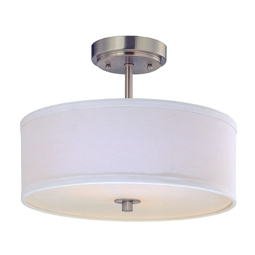 Design Classics Lighting Drum Semi-Flush Light with White Shade - 14 Inches Wide DCL 6543-09 SH7483 KIT