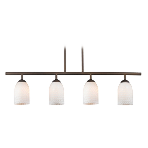 Design Classics Lighting Modern Linear Pendant Light with 4-Lights and White Glass in Bronze Finish 718-220 GL1020D