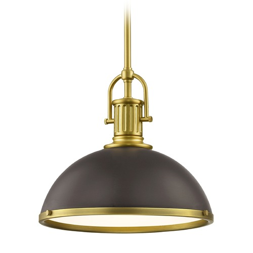 Design Classics Lighting Bronze Farmhouse Pendant Light with Brass 13.38-Inch Wide 1764-12 SH1776-220 R1776-12
