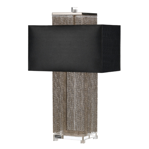 AF Lighting Modern Table Lamp with Black Shades in Silver, Nickel Finish 8445-TL