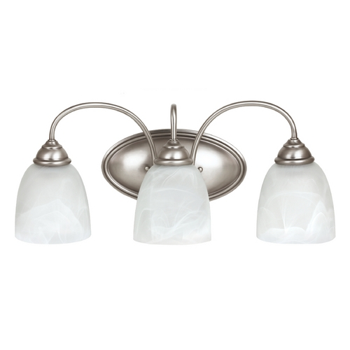 Sea Gull Lighting Bathroom Light with Alabaster Glass in Antique Brushed Nickel Finish 44318-965