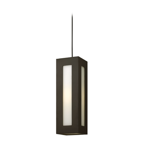 Hinkley Lighting Modern Outdoor Hanging Light with White Glass in Bronze Finish 2192BZ-GU24
