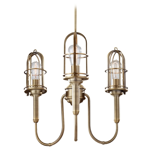 Home Solutions by Feiss Lighting Chandelier in Dark Antique Brass Finish F2825/3DAB