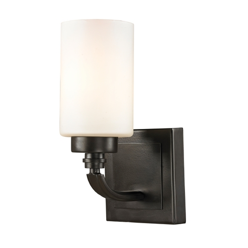 Elk Lighting Modern Sconce Wall Light with White Glass in Oil Rubbed Bronze Finish 11670/1