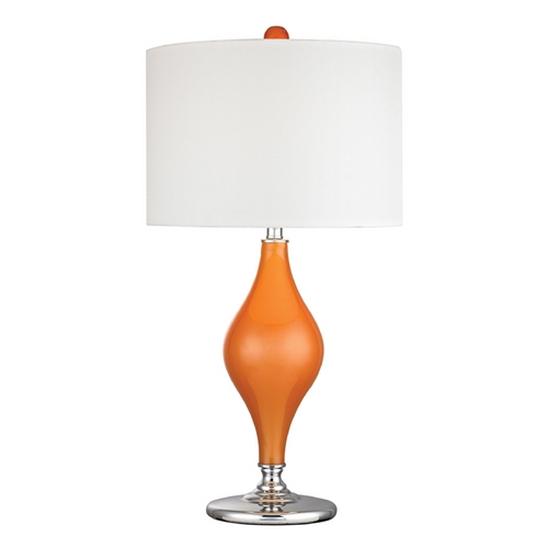 Dimond Lighting Table Lamp with White Shades in Tangerine Orange with Polished Nickel Finish D2508-LED