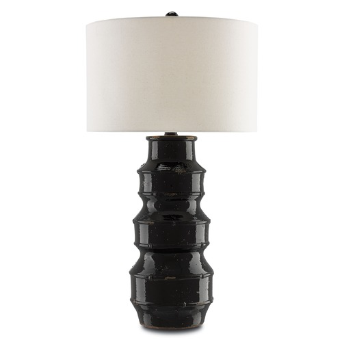Currey and Company Lighting Currey and Company Kingsdale Glossy Black/french Black Table Lamp with Drum Shade 6000-0052