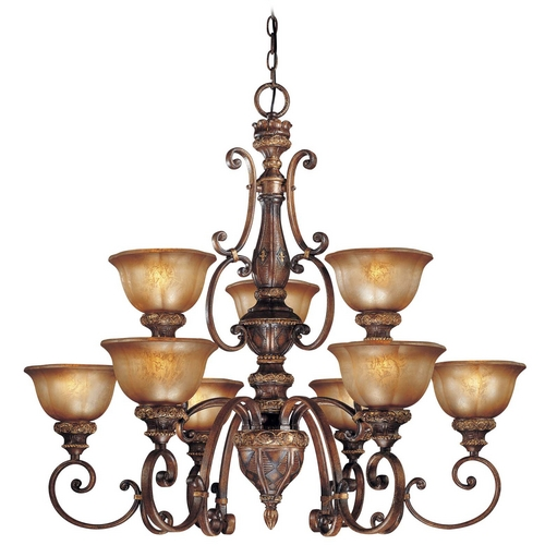 Minka Lavery Chandelier with Brown Glass in Illuminati Bronze Finish 1358-177