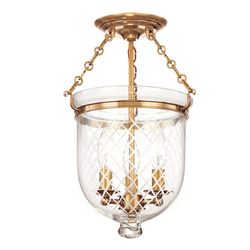 Hudson Valley Lighting Semi-Flushmount Light with Clear Glass in Aged Brass Finish 251-AGB-C2