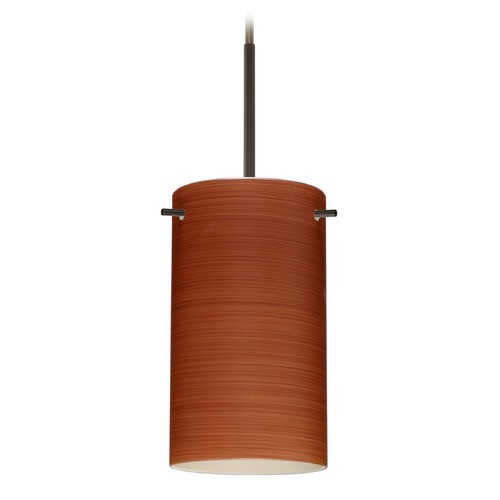 Besa Lighting Besa Lighting Stilo Bronze Mini-Pendant Light with Cylindrical Shade 1BT-4404CH-BR