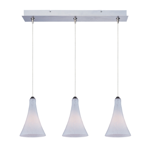ET2 Lighting Modern Low Voltage Multi-Light Pendant Light with White Glass and 3-Lights E94832-105SN