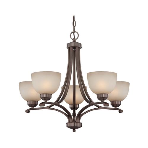Minka Lavery 5-Lt Chandelier in Harvard Court Bronze Finish - French Scavo Glass 1425-281