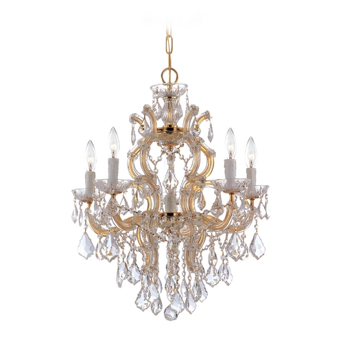 Crystorama Lighting Crystal Chandelier in Polished Gold Finish 4435-GD-CL-S