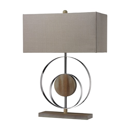 Dimond Lighting Dimond Lighting Bleached Wood, Chrome Table Lamp with Rectangle Shade D2297