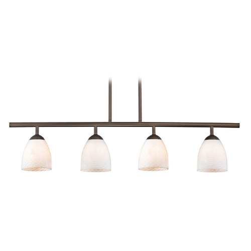 Design Classics Lighting Modern Island Light with White Glass in Neuvelle Bronze Finish 718-220 GL1020MB