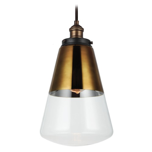 Feiss Lighting Feiss Lighting Waveform Painted Aged Brass / Dark Weathered Zinc Mini-Pendant Light P1373PAGB/DWZ