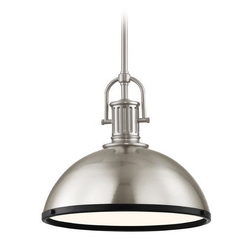 Design Classics Lighting Industrial Pendant Light Satin Nickel and Black 13.38-Inch Wide 1764-09 SH1776-09 R1776-07