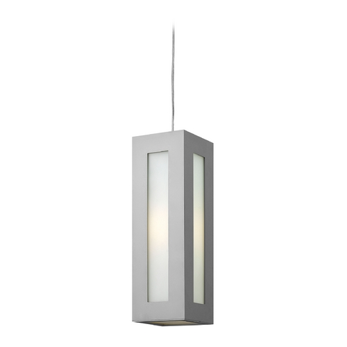 Hinkley Lighting Modern Outdoor Hanging Light with White Glass in Titanium Finish 2192TT
