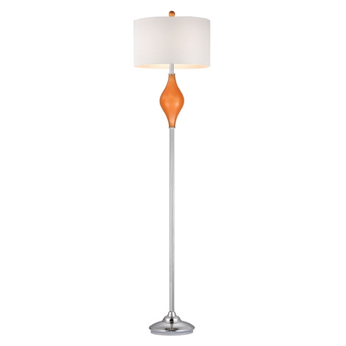 Dimond Lighting Floor Lamp with White Shades in Tangerine Orange with Polished Nickel Finish D2510